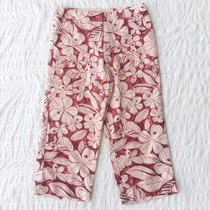 Tommy Bahama Floral 100% Silk Wide Leg Capri Pants